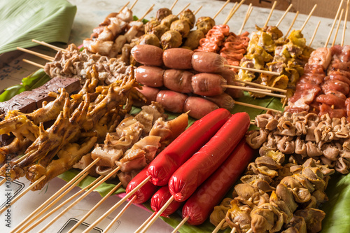 An assortment of popular Filipino street food ready to be cooked. Wallpaper Mural