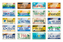 Auto Plate And Car Numbers Set Of Vehicle Registration In USA States. Car Plates. Vehicle License Numbers Of Different American States. Metal Sign Boards Automobile Plates With Digits And Letters