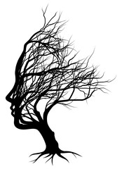 Optical illusion bare tree face woman silhouette concept