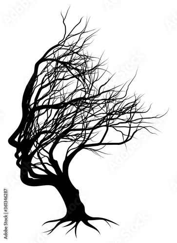 Fotografía Optical illusion bare tree face woman silhouette concept