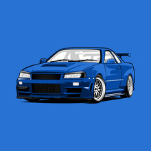Nissan GTR R35 Blue Sports Car Illustration Vector Line Art