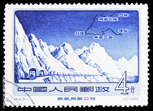 Postage stamp printed in China shows Trucks, Mountains, Highway Map, Sikang-Tibe Wallpaper Mural
