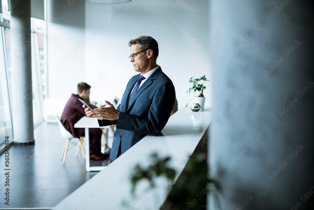 Fototapeta Handsome businessman using his tablet in the office