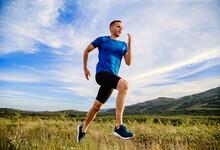 Man Runner Running Summer Moun...
