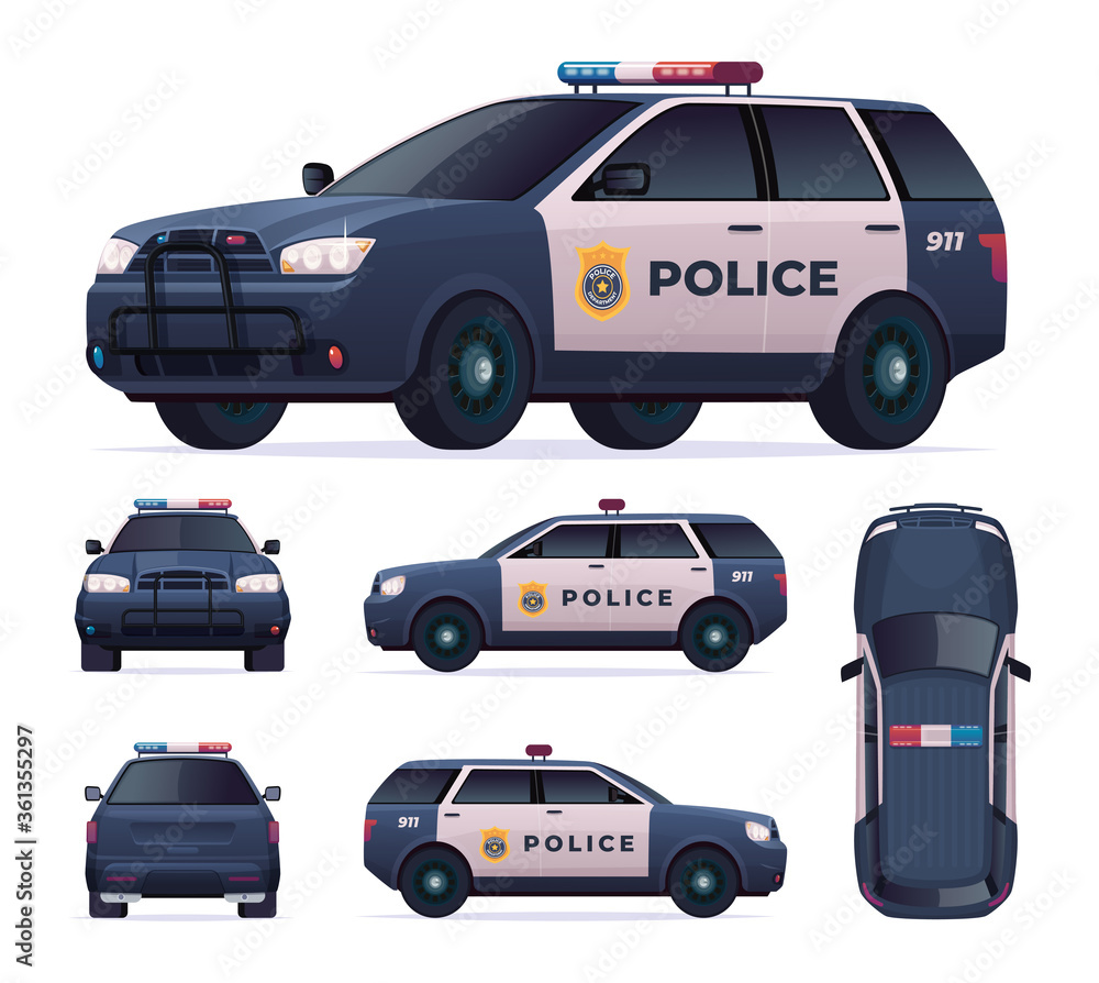 Fototapeta Police car set. Patrol official vehicle, cop automobile chase and pursuit criminals. View front, rear, side, top.