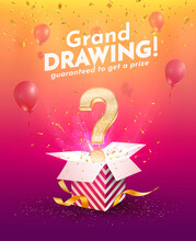 Winning Gifts Lottery Vector Illustration. Grand Drawing. Open Textured Box With Golden Question Mark And Confetti Explosion Off And On Bright Background.