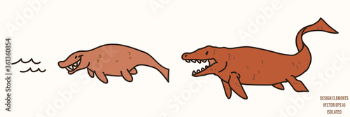 Mosasaurus dinosaur gender neutral baby illustration clipart фототапет