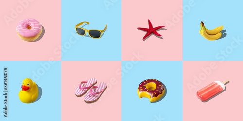 Creative colorful background with different summer things. Minimal summer concept.