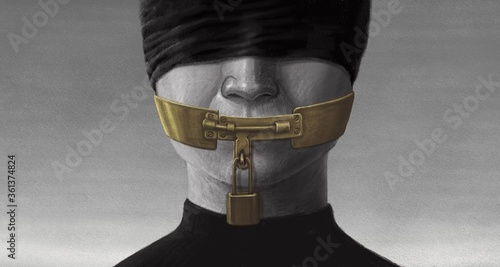 Obraz na plátně Free speech and freedom of expression concept surreal artwork, conceptual painti