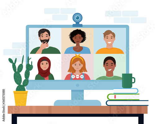 Obraz Video conference with people group. Computer screen. Vector illustration in flat style - fototapety do salonu