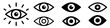 Eye icon set. Eyesight symbol. Retina scan eye icons. Simple eyes collection. Eye silhouette - stock vector.