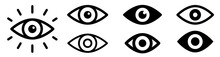 Eye Icon Set. Eyesight Symbol. Retina Scan Eye Icons. Simple Eyes Collection. Eye Silhouette - Stock Vector.