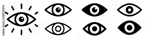 Fototapeta Eye icon set. Eyesight symbol. Retina scan eye icons. Simple eyes collection. Eye silhouette - stock vector. obraz