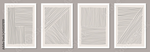 Papel de parede Trendy set of abstract creative minimal artistic hand sketched compositions