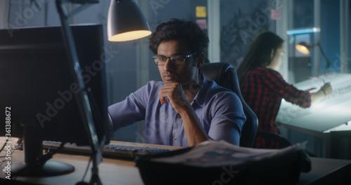 Fototapeta Video game developer at work