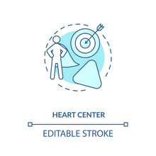 Heart Center Turquoise Concept Icon. Personal Will. Ego And Motivation. Chakra In Body System. Human Design Idea Thin Line Illustration. Vector Isolated Outline RGB Color Drawing. Editable Stroke