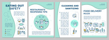 Eating Out Safety Brochure Template. Cleaning And Sanitizing. Flyer, Booklet, Leaflet Print, Cover Design With Linear Icons. Vector Layouts For Magazines, Annual Reports, Advertising Posters