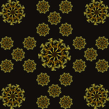 Seamless Pattern, Ornament With Dark Bronze Elements, Modern Concept For Your Design.