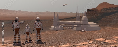 Fotografering Family colonists immigrants to Mars, a man, a woman and a child admire the Martian landscape, the city and spaceship