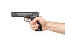 Male Hand Hold Black Pistol, I...