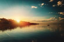 Sunset In The Volga River Delt...