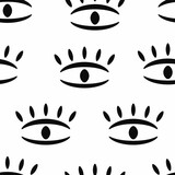 Seamless pattern with repeating eye drawn by hand. Simple vector illustration. - 361407266