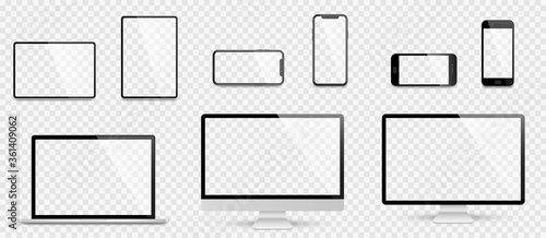 Obraz Realistic set computer, laptop, tablet and smartphone. Device screen mockup collection. Realistic mock up computer, laptop, tablet, phone with shadow- stock vector. - fototapety do salonu