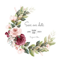 Wreath Of Brown And Burgundy Watercolor Roses And Wild Flowers With Various Leaves. Botanic Illustration For Card Composition Design