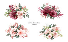 Set Of Watercolor Bouquets Of ...