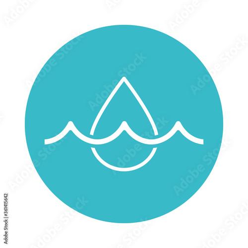 water drop affluent nature liquid blue block style icon Canvas Print