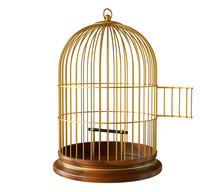 Wooden Base Gold Birdcage With Open Door Isolated On White Background