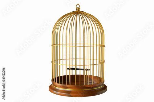 Wooden base gold birdcage with close door isolated on white background Fototapet