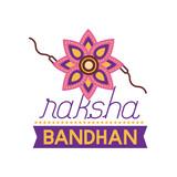 happy raksha bandhan celebration with flower decoration flat style