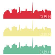 Dublin Skyline Silhouette City...