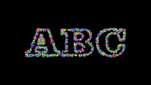 ABC: 3D Illustration Of The Text Made Of Small Objects Over A Black Background With Shadows. Alphabet And Letter
