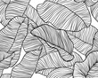 Seamless pattern, hand drawn outline black ink banana leaves on white background
