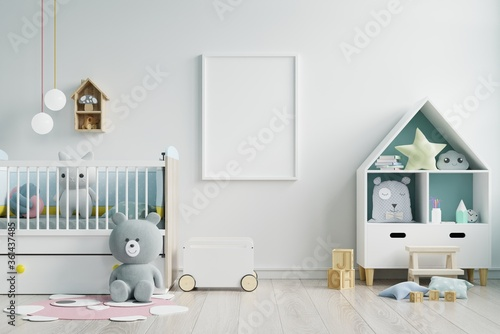 Mock up poster frame in children room,kids room,nursery mockup,white wall.