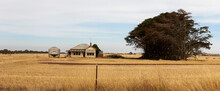 Panoramic Image Of An Old Timber Worn Out Abandoned Traditional Australian Farm House In The Middle Of A Newly Harvested Field On A Agricultural Property In Rural Victoria, Australia