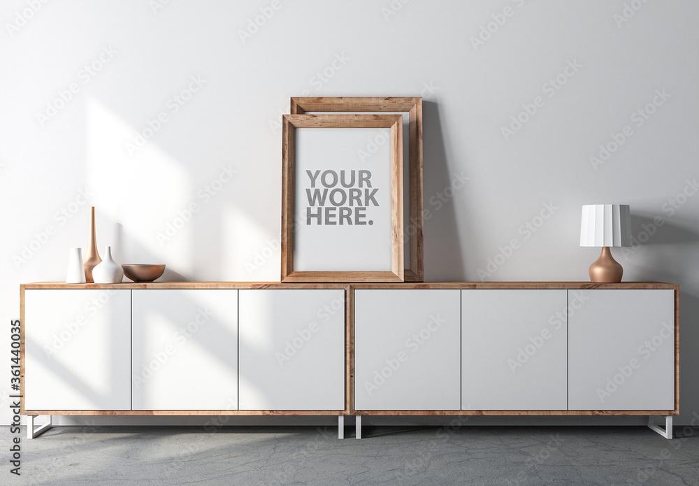 Fototapeta Wooden Frame Mockup on Modern Bureau