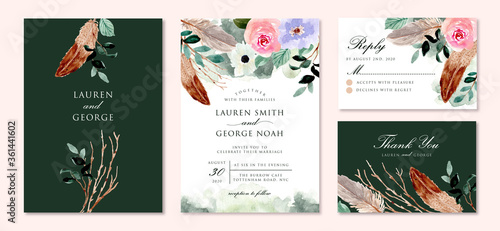 Fototapeta rustic green wedding invitation set with floral and feather watercolor obraz