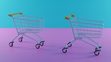 3D  Render Of The Shopping Cart Is On A Pink Floor With A Blue Background.