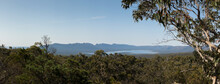 Panoramic View Of Moora Moora Reservoir Lake In The Grampians National Park With Native Trees And Mountain Ranges Along The Horizon, Regional Victoria High Country, Australia