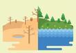 Afforestationanddeforestationconcept