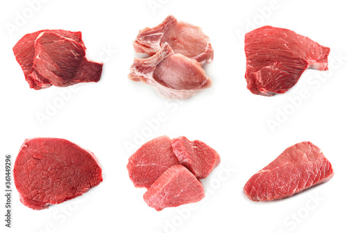 Fototapeta Set with raw meat on white background, top view obraz