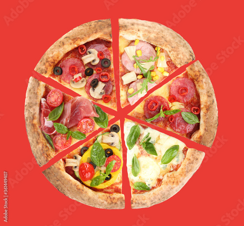 Fotografie, Obraz Slices of different pizzas on red background, top view