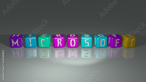 Photo MICROSOFT arranged by cubic letters on a mirror floor, ideal for concept meaning and presentations