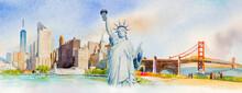 Travel Manhattan Urban, Statue Liberty, Golden Gate Bridge In USA.