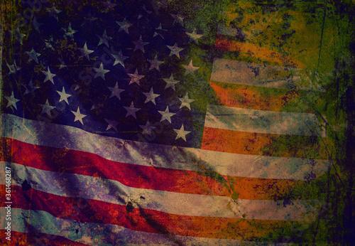 Closeup of grunge American flag Fototapet