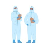 Two diverse male doctors in protective suits holding clipboard vector illustration. Medical staff wearing uniform standing together isolated on white. Emergency aid workers in safety clothes