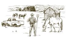 Farmer Working At Farm. Hand Drawn Illustration
